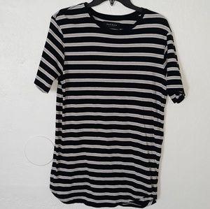 PacSun Shirts - PACSUN Scallop Fit Black Stripes T Shirt
